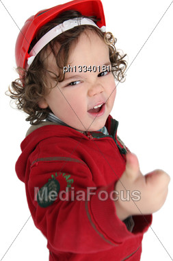 Cute Little Boy Giving The Thumbs-up Stock Photo