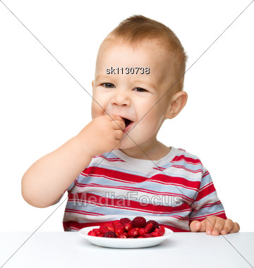 Stock Photo Cute Little Boy Strawberries - Image SK1130738 - Cute ...