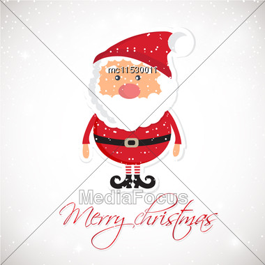 Cute Santa Claus On White Christmas Background With Lights And Snowflakes. Christmas Card, Poster, Web Design Stock Photo