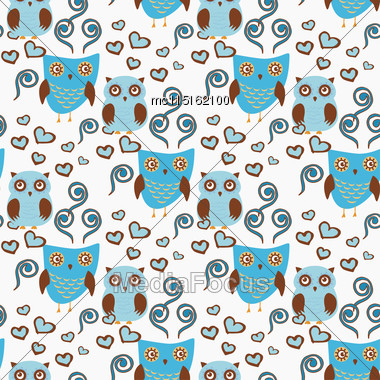Cute Seamless Pattern With Owls Couple. Blue And Brown Owls. Vector Illistration Stock Photo
