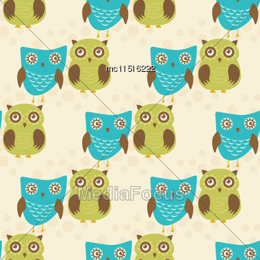 Cute Seamless Pattern With Owls Couple. Blue And Green Owls. Vector Illistration Stock Photo