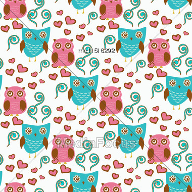 Cute Seamless Pattern With Owls Couple. Blue And Pink Owls. Vector Illistration Stock Photo
