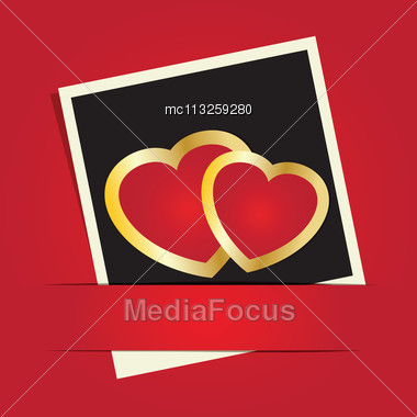 Cute Vector Background With Two Hearts Stock Photo