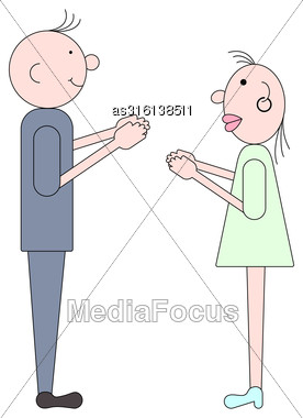 Cute Of Young People, Cartoon Flat Character. Vector Illustration Stock Photo