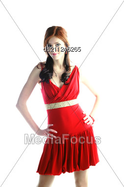 Cute Young Pretty Girl In Red Dress Stock Photo