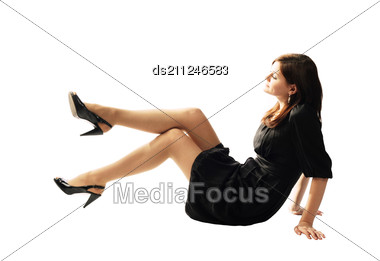 Cute Young Pretty Girl In Stylish Black Dress Stock Photo