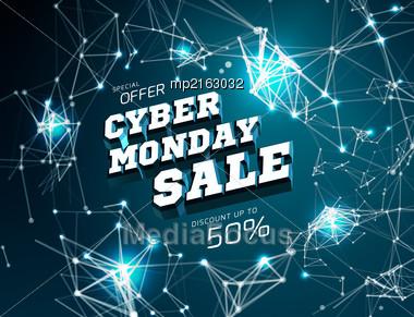 Cyber Monday Sale. Vector Illustration On Black Background Stock Photo