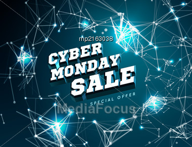 Cyber Monday Sale. Vector Illustration On Black Background Stock Photo