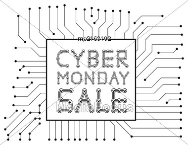Cyber Monday Sale. Vector Illustration On White Background Stock Photo