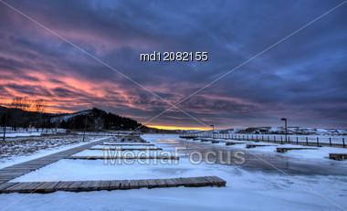 Cypress Hills Alberta Lake In Winter Cold Stock Photo