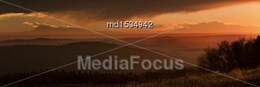 Cypress Hills Sunset Elkwater Alberta Horeshoe Canyon Stock Photo