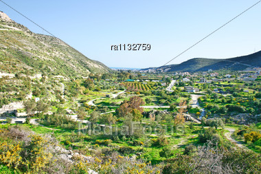 Cyprus Landscape With Gardens,mountain Village, Paths Stock Photo
