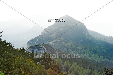 Cyprus Landscape With High Mountains, Foggy Day. Stock Photo