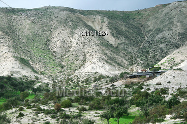 Cyprus Landscape With Hills,trees And House Stock Photo