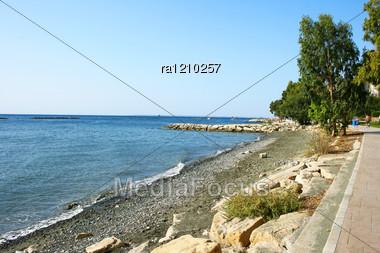 Cyprus Landscape, Mediterranean Sea Coastline. Stock Photo