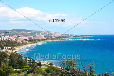 Cyprus Landscape With Mountains And Mediterranean Sea. Stock Photo