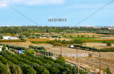 Cyprus Landscape With Gardens, Plantations. Stock Photo