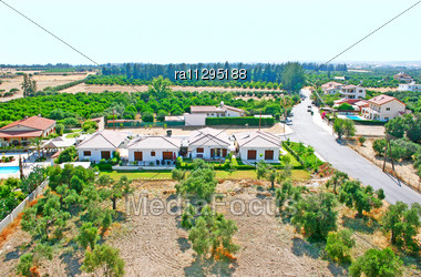 Cyprus Rural Landscape With Houses And Gardens Stock Photo