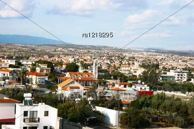 Cyprus Village Scene With Mountains. Stock Photo