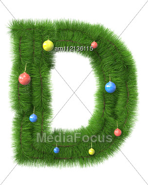 D Letter Made Of Christmas Tree Branches Stock Photo