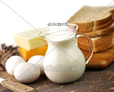Dairy Products And Fresh Eggs Stock Photo