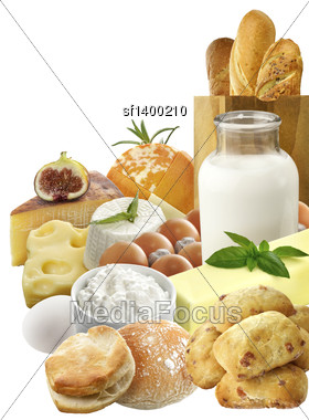 Dairy Products And Eggs Isolated On White Background Stock Photo