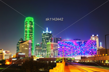 Dallas, Texas Cityscape At The Night Time Stock Photo