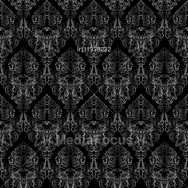 Damask Seamless, Abstract Grayscale Texture Stock Photo