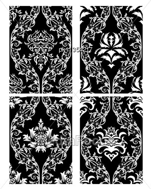 Damask Seamless Black & White Backgrounds Set Stock Photo