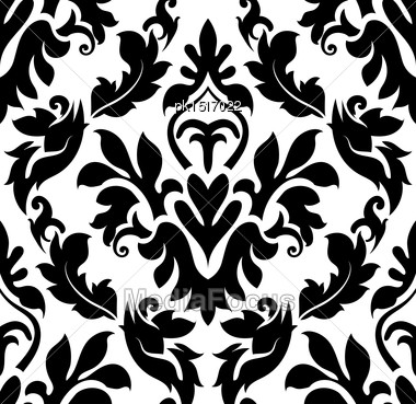 Damask Seamless Pattern. EPS 10 Vector Illustration Without Transparency Stock Photo