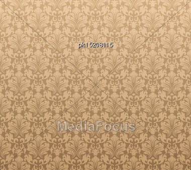 Damask Seamless Vector Pattern. For Easy Making Seamless Pattern Just Drag All Group Into Swatches Bar, And Use It For Filling Any Contours Stock Photo