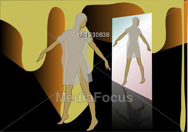 Dancer Before The Mirror In The Abstract Corridor Stock Photo