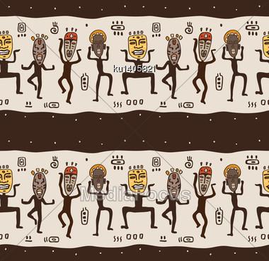 Dancing Figures Wearing African Masks. Primitive Art. Seamless Vector Illustration Stock Photo