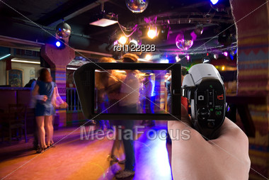 Dancing People In An Underground Club On The Camera Stock Photo