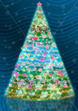 Dark Blue Background And Shining Christmas Tree Stock Photo