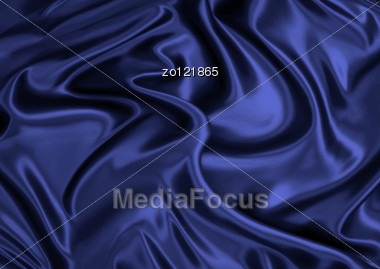 Dark Blue Silk Material As A Background Stock Photo