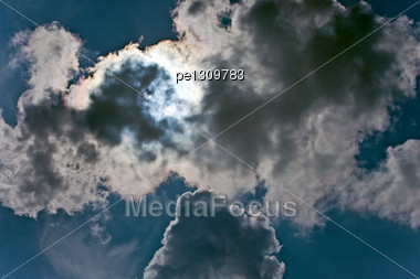 Dark Blue Sky With Cumulus Clouds Stock Photo