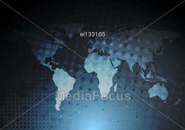 Dark Blue Tech Background With World Map. Eps 10 Vector Design Stock Photo