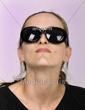 Dark Glasses Vogue Style Beautiful Girl Stock Photo