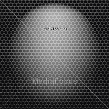 Dark Iron Perforated Background. Abstract Circle Pattern Stock Photo