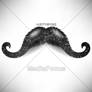 Dark Mosaic Mustache Isolated On White Background Stock Photo