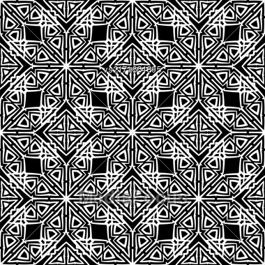 Dark Ornamental Seamless Line Pattern. Endless Texture. Oriental Geometric Ornament Stock Photo