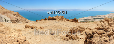 Dead Sea Panorama Of 7 Shots, From A Height Of 400 Meters Stock Photo
