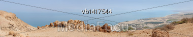 Dead Sea Panorama From A Height Of 400 Meters Stock Photo