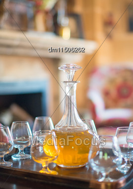 Decanter With Glasses On The Table Stock Photo