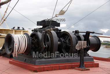Deck Equipment In The Bow To Lift Anchor Stock Photo
