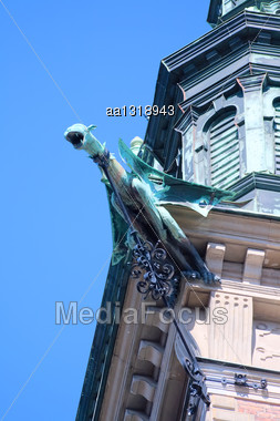 Decoration Of St. Gertrude Church (German Church) In The Form Of Neo-Gothic Gargoyles Stock Photo