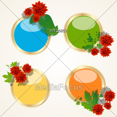 Decorative Buttons With Blossom Flowers Stock Photo