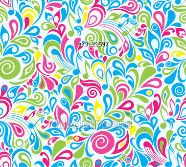 Decorative Colorful Vector Musical Seamless Background With Notes And Leaves Stock Photo