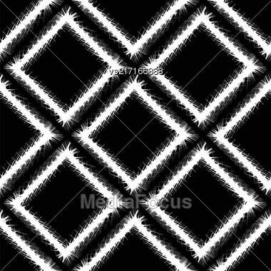 Decorative Grunge White Frame Seamless Pattern On Black Background Stock Photo
